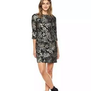 Trina Turk metallic jacquard floral cocktail dress